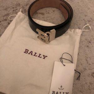 "Bally ""B"" Buckle Patent Leather Belt"
